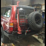 1990 - 1997 Toyota FJ80/FZJ80/LX450 Rear Weld Together Bumper Kit with Dual Swingout Tire Carrier an Ladder/Hi Lift jack Mount